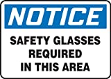 Accuform MPPE854VA Aluminum Safety Sign, Legend ''NOTICE SAFETY GLASSES REQUIRED IN THIS AREA'', 7'' Length x 10'' Width, Blue/Black on White