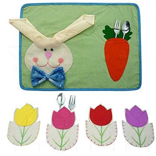 Easter ❤️Jonerytime❤️ Easter Decoration Tableware Case Silverware Holders Pockets Dinner + Placemat Mat ()