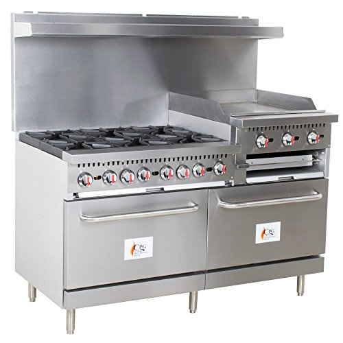 Cooking Performance Group S60-GS24-N Natural Gas 6 Burner 60″ Range with 24″ Griddle/Broiler and 2 Standard Ovens – 276,000 BTU