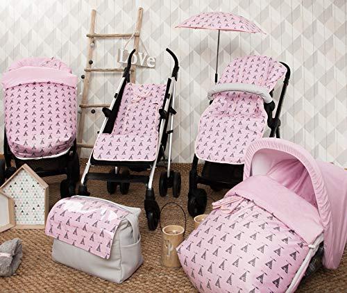 Babyline Tepee Saco de silla con manoplas unisex color rosa