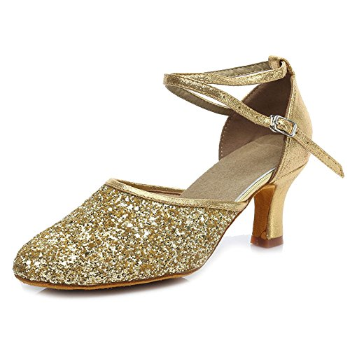 Shoes Gold Model Women Standard 7cm Dance Heel SWDZM Sequins UK1802 Latin Modern ztw6qA