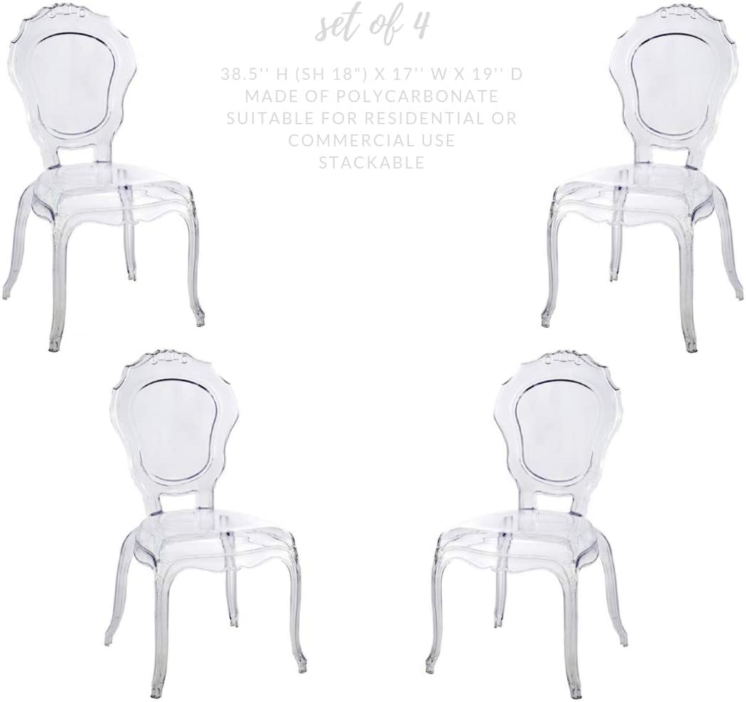 Acrylic Chair, Dining Chair Set of 4 Clear Take Me Home Furniture Princess armless Chair
