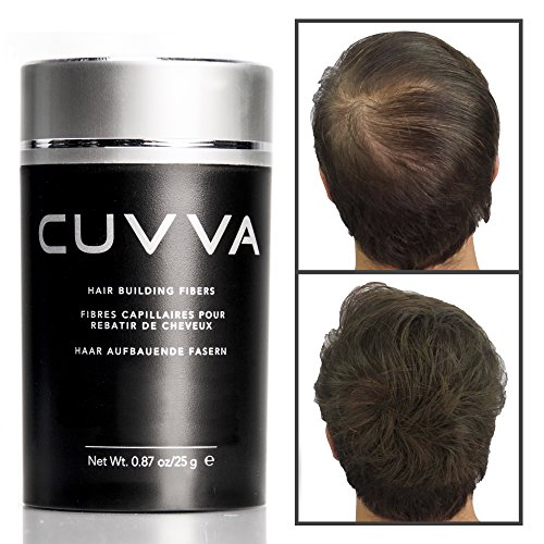 CUVVA Hair Fibers – Hair Loss Concealer for Thinning Hair – Keratin Hair Building Fibers Will Instantly Make Thin Hair Look Thicker – 0.87oz – Black