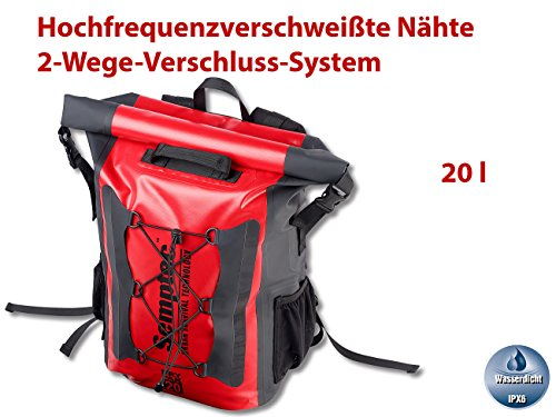 51szm623 kL Semptec Urban Survival Technology Wasserfester Rucksack: Wasserdichter Trekking-Rucksack aus LKW-Plane, 20 Liter, IPX6…