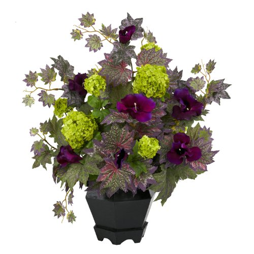 Nearly-Natural-1259-Morning-Glory-and-Hydrangea-Flower-Arrangement-Purple