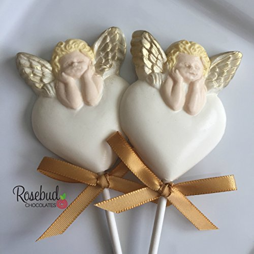 12 Chocolate ANGEL CHERUB Gold Wings Lollipop Candy Party Favors