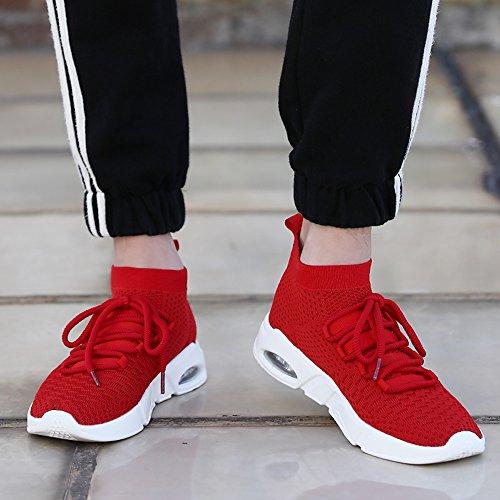 Ceyue Mens Chaussures De Sport Casual Sneaker Noir Léger Chaussures De Sport De Course Rouge