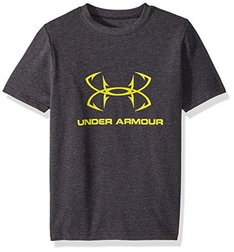 Shirt Long Sleeve Cotton Fishing (Under Armour Boys' Hook Logo Sportstyle T-Shirt, Black Medium Heather/Bitter, X-Large)