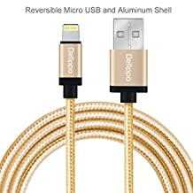 Delippo® 3.3ft/1M Nylon Braided USB Cable with Lightning Connector [Apple MFi Certified] for iPhone 6/6 Plus, iPad Air 2 and More(Golden)