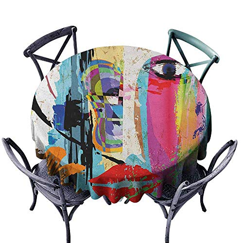 G Idle Sky Art Washable Table Cloth Contemporary Paint Strokes Splashes Face Mask Paint Kiss Graffiti Grunge Creative Theme Easy Care D63 Multicolor -