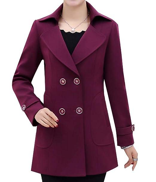 Vinyst Women s Plus Size Mid Long Winter Fall Cardigan Trench Coat Rose Red  4XL b89f30127cc4