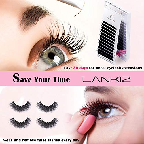 LANKIZ Eyelash Extensions Individual Lashes 0.15mm C Curl 8-15mm Mink Eyelash Extension Supplies Classic Lash Extensions Professional