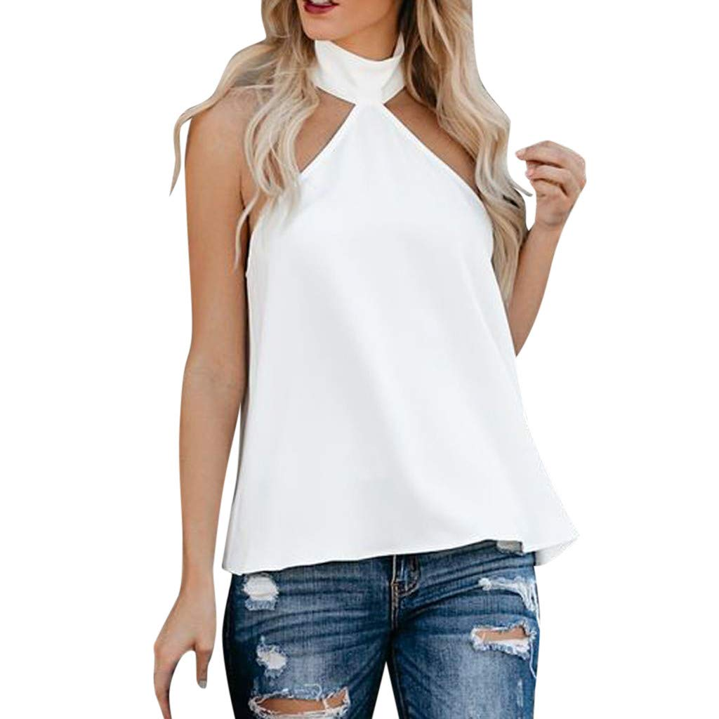 Women's Halter Blouse, Gogoodgo Laides Pure Color Sleeveless Loose Hem Tops Cold Shoulder Baggy Soft T-Shirt White by Gogoodgo vest (Image #1)