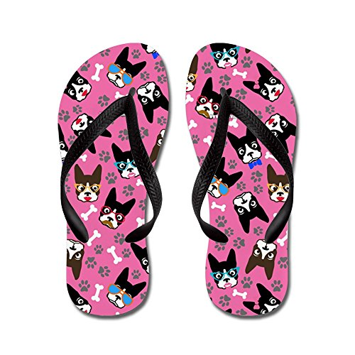 CafePress Cute Boston Terrier Dog - Flip Flops, Funny Thong Sandals, Beach Sandals Black