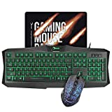 RECCAZR MC500 Gaming Keyboard LED Mouse and Mouse pad Combo 3 Color Backlit Keyboards 7 Color 1200DPI Mice 10.6''x8.8'' Mouse mat Mouse Keyboard Set for PC/Laptops/Computer