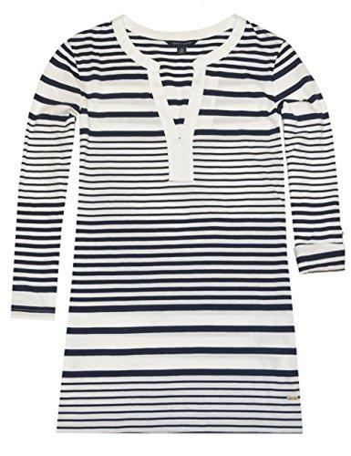 Tommy Hilfiger Women V-neck Striped Logo Tunic (S, White/navy)