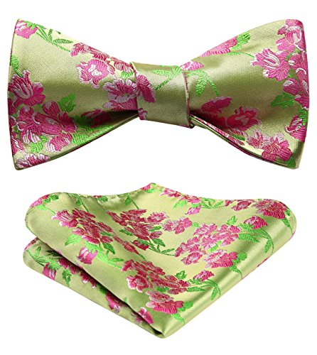 HISDERN Paisley Floral Party Self Bow Tie Handkerchief Men's Self Bow tie & Pocket Square Set Green/Pink ()