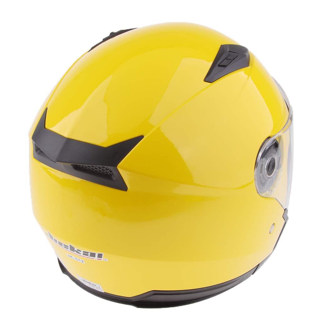 perfk Motorradhelm Integralhelm Rollerhelm Voll Gesicht Helm Sturzhelm Doppelvisier Sonnenblende f/ür Damen Herren Gl/änzendes schwarzes XL