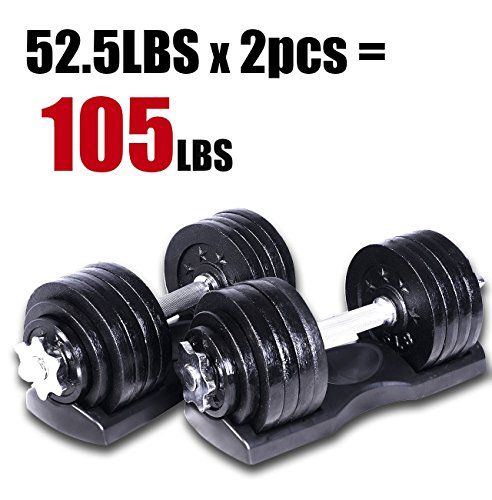 Starring 105 - 200 Lbs adjustable dumbbells (105 LBS Black with Trays)