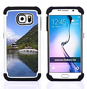 GIFT CHOICE / Defensor Cubierta de protección completa Flexible TPU Silicona + Duro PC Estuche protector Cáscara Funda Caso / Combo Case for Samsung Galaxy S6 SM-G920 // Nature Asian Temple //