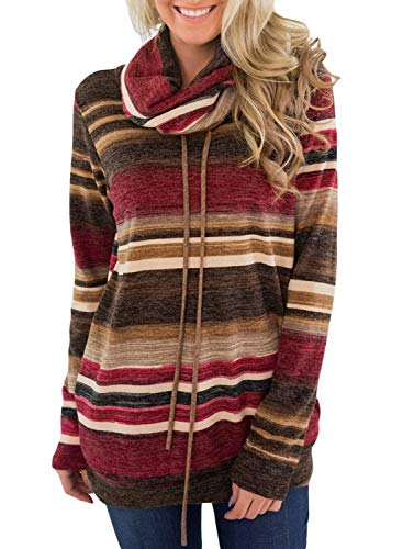 Dearlove Womens Long Sleeve Cowl Neck Striped Loose Tunic Pullover Sweatshirt Casual Drawstring Blouse Tops Pockets Red Plus Size 2X 20 22 -