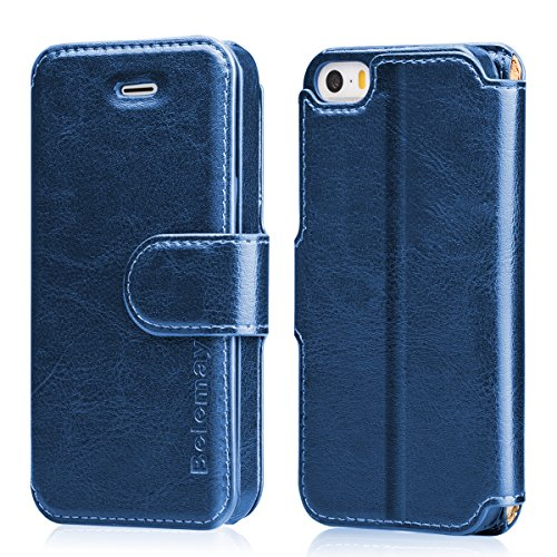 Belemay iPhone SE Case, iPhone 5S Case, iPhone 5 Case, Genuine Leather Wallet Case, Flip Folio Cover Magnetic Closure, Card Holder Slots, Kickstand, Cash Pockets Compatible iPhone SE / 5S / 5, Blue