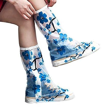 eDealMax 1 par del patrón del tamaño S despejado Flor Azul reutilizables antideslizantes cremallera botas de