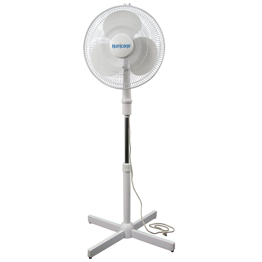 Hurricane Stand Fan - 16 Inch | Supreme Series |90 Degree Oscillation, 3 Speed Settings, Adjustable Height 41 Inches to 55 Inches - ETL Listed, White