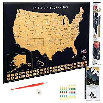 USA Scratch Off Map by Vespigo - 24x17 - National Parks - State Flags - Scenic Trails - Bonus Accessories Pack with Unique Discover America brochure