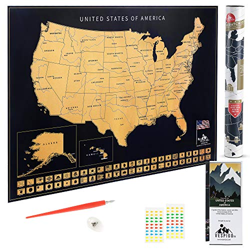 (USA Scratch Off Map by Vespigo - 24x17 - National Parks - State Flags - Scenic Trails - Bonus Accessories Pack with Unique Discover America brochure)