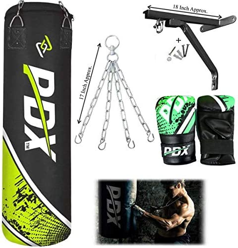 PDX Punch Bag Set Green 4//5FT Filled Punch Bag With Chain Wall Bracket /& Gloves