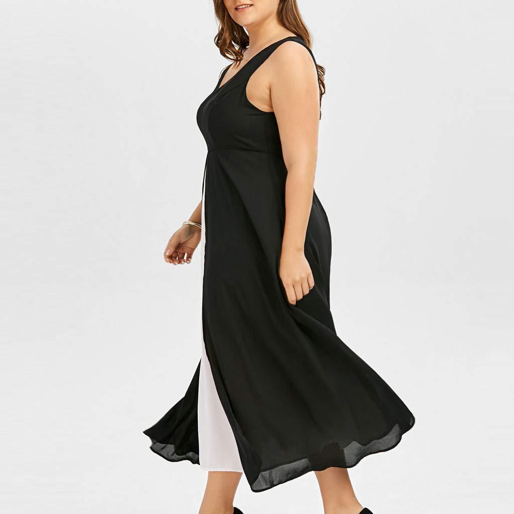 Gyouanime Plus Size Dress Womens V-Neck Sleeveless Black White Patchwork Long Maxi Dress Beachwear by Gyouanime Dress (Image #4)