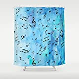 Blue Watercolor Music Shower Curtain