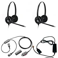 Plantronics HW261N Duo Headset Training Bundle | Headsets, Telephone Interface Cable, Y-Training Splitter Cord #27019-03 (with Mute button) | Use for Coaching, Supervising, Training, Monitoring