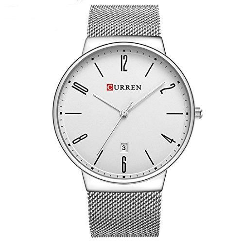 CURREN Men Waterproof Watches Stainless Steel Band Quartz watch Top Brand Business Male Wristwatch Valentine's Day Gift for him 8257 (silver black)