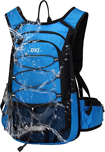 - Mubasel Gear Insulated Hydration Backpack with 2L BPA Free Bladder - Keeps Liquid Cool up to 5 Hours - Waterproof Pack for Running, Hiking, Cycling, Camping (Blue - with Waist Pack)