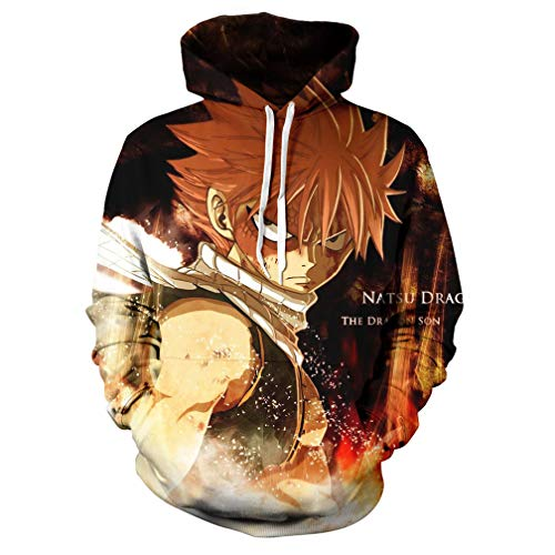 - YOYOSHome Anime Fairy Tail Hoodie Natsu Dragneel Jackets Sweatshirt Long Shirt Cosplay Costume