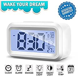 Alarm Clock Digital Large LCD Display Battery Operated Modern Portable Morning Sensor Smart Snooze Back-light Multi-function Clock Time Date Month Temperature for Office Bedroom Dormitory (white)