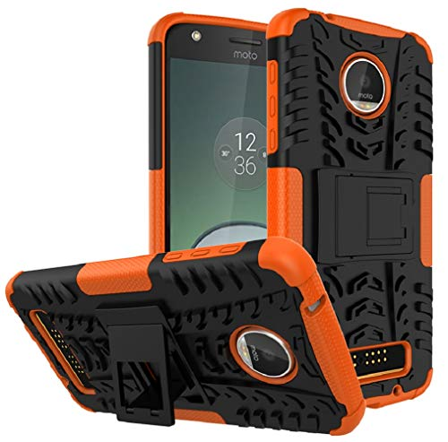(Moto Z Play Droid Case,Yiakeng Shockproof Impact Protection Tough Rugged Dual Layer Protective Case Cover with Kickstand for Motorola Moto Z Play Droid (Orange))