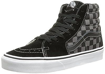 Vans Men's Sk8-Hi Skate Shoe (10.5 D(M) US, Black/Pewter Checkerboard Canvas)