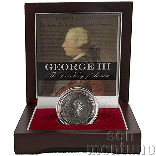 GEORGE III - THE LAST KING OF AMERICA - Copper Half Penny Coin featuring Seated Britannia Reverse in Wood Box with Certificate of Authenticity - Great Britain UK 1/2 Penny ()