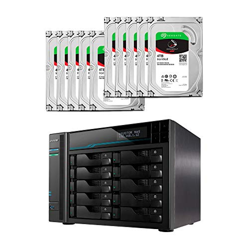 Asustor Lockerstor 10 Pro  AS7110T + 40TB   Asustor NAS Bundle with Ten 4TB Seagate Iron Wolf Pro HDDs