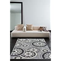 Luxury Carpets Collection, Modern Live Gray and White Contemporary Wheel Design Rubber-Backed Non-Slip (Non-Skid) 5x7 Area Rugs| Thin Low Profile Indoor/Outdoor Floor Rug