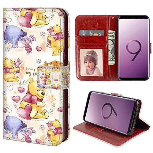 Pooh Wallet - for Samsung Galaxy S9 Wallet Case Pooh Bear and His Friends Flip Leather Case with Kickstand PU Leather Stand Folio Cover Case for Samsung Galaxy S9