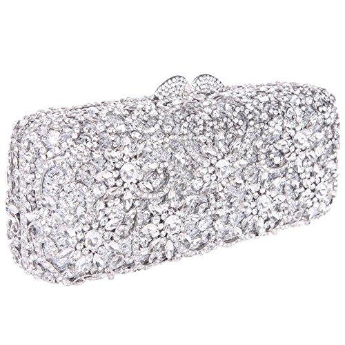 Damen Clutch Abendtasche Handtasche Geldbörse Funkelt Glitzer Kristall Luxus Sonnenblume Tasche mit wechselbare Trageketten von Santimon Silber Santimon 30gb9