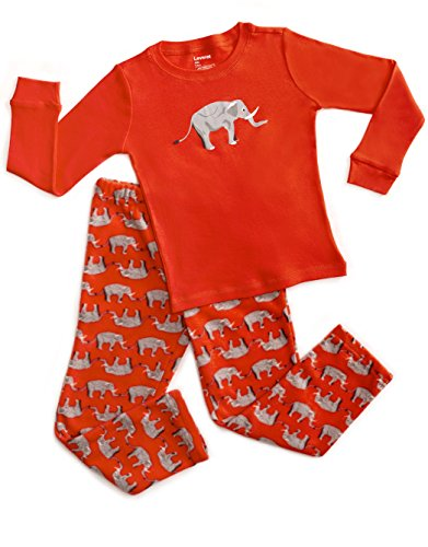 Fleece & Cotton 2 Piece Pajama Elephant Red 3 Years