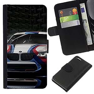 KLONGSHOP // Tirón de la caja Cartera de cuero con ranuras para tarjetas - Carreras de coches Deporte Cicatriz de fibra de carbono Ruedas - Apple Iphone 5C //