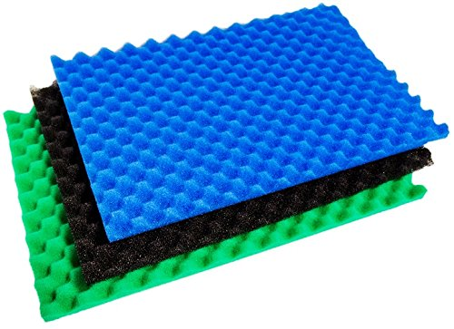 "Heritage Reticulated 3 Pack Filter Foam Set 11"" x 17"" Sponge Media Set Koi Fish Pond Coarse Medium Fine Foams"