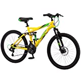 Mongoose Bedlam 24-Inch 21-Speed Youth Mountain Bike, Yellow