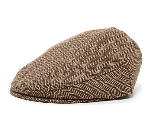 Born to Love Flat Scally Cap - Boy's Tweed Page Boy Newsboy Baby Kids Driver Cap Hat (XL) Brown Herringbone